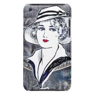 Denim/jean design & vintage ladies fashion print barely there iPod cases