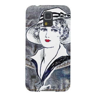 Denim/jean design & vintage ladies fashion print cases for galaxy s5