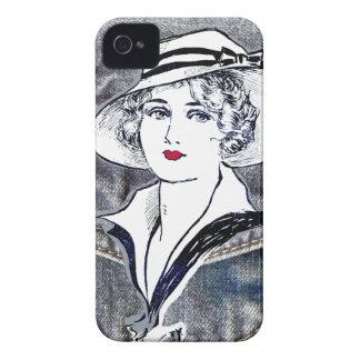 Denim/jean design & vintage ladies fashion print iPhone 4 case
