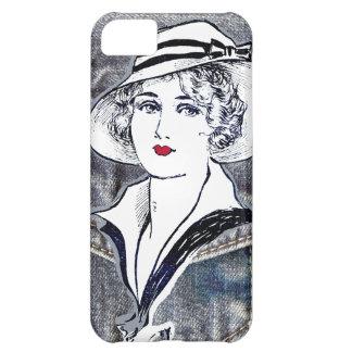 Denim/jean design & vintage ladies fashion print iPhone 5C cover