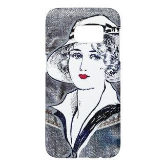 Denim/jean design & vintage ladies fashion print samsung galaxy s7 case