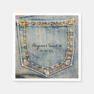 Denim Jean Stitched Pocket Birthday Party Napkins Disposable Napkins