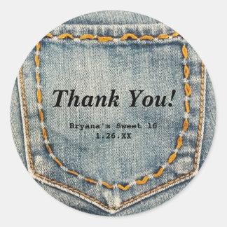 Denim Jean Stitched Pocket Custom Favor Stickers