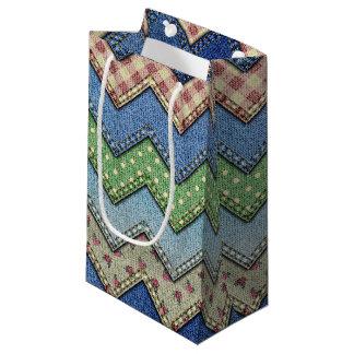Denim jeans patchwork pattern gift bag