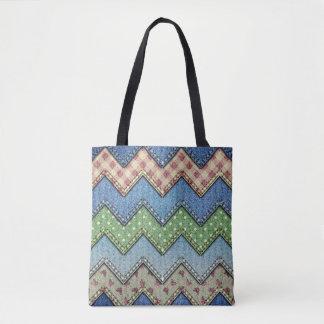 Denim jeans patchwork pattern tote bag