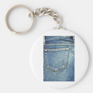 Denim Jeans Pocket Blue Fabric style fashion rich Basic Round Button Keychain