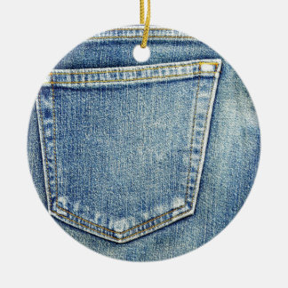 Denim Jeans Pocket Blue Fabric style fashion rich Ceramic Ornament