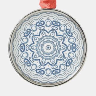Denim Kaleidescope Metal Ornament