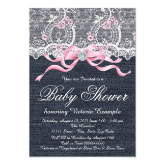 Denim Lace Diamond Bow Baby Shower Card