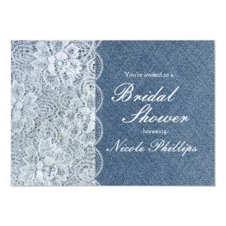 Denim & Lace Rustic Bridal Shower Party Invitation