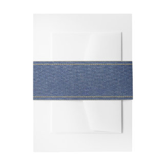 Denim Look Belly Band Invitation Belly Band