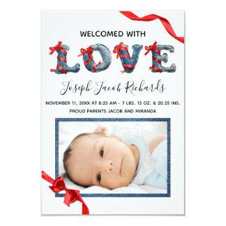 Denim Love -  3x5 Birth Announcement