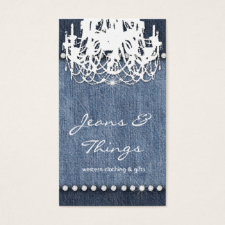 Denim n Diamonds Business Card Chandelier