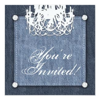 Denim n Diamonds Wedding Invitation Chandelier Lt