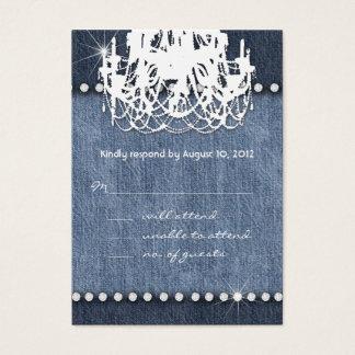 Denim n Diamonds Wedding Response Card Chandelier