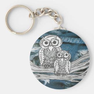 Denim Owls key chain