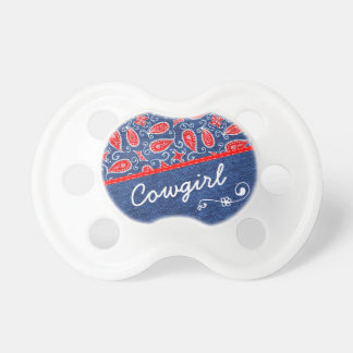 Denim Paisley Cute Floral Red White and Blue Jeans Pacifier