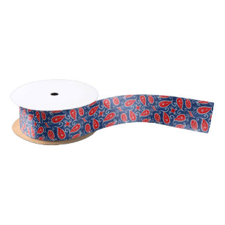 Denim Paisley Cute Floral Red White and Blue Jeans Satin Ribbon