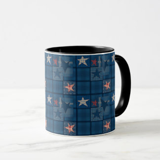 Denim patchwork mug