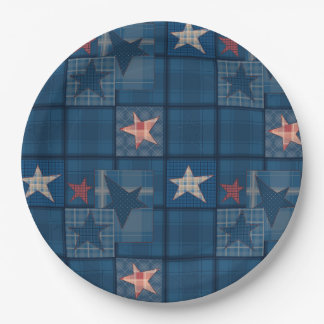 Denim patchwork paper plate