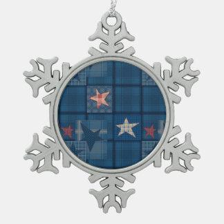 Denim patchwork snowflake pewter christmas ornament