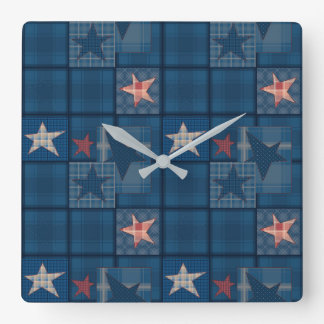 Denim patchwork square wall clock