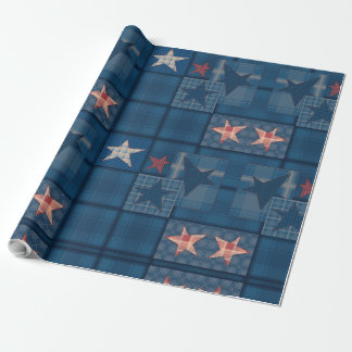 Denim patchwork wrapping paper
