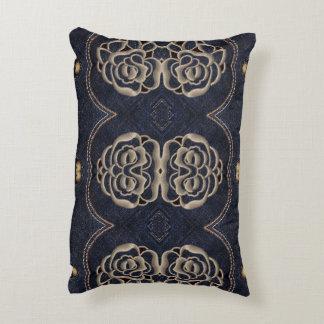 Denim Pillow with Ornamental Design
