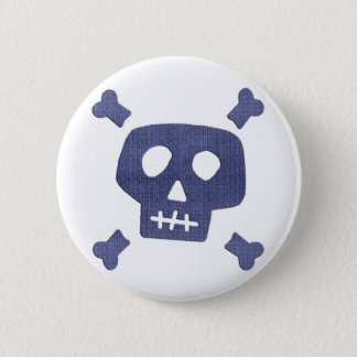 Denim Skull 2 Inch Round Button