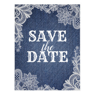 Denim & White Floral Lace Elegant Save The Date Postcard