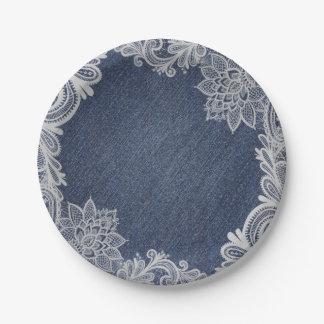 Denim & White Floral Lace Elegant Vintage Wedding Paper Plate