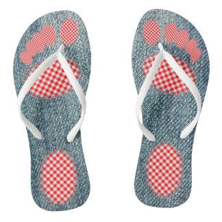 Denim with Red Gingham Footprint Flip Flops