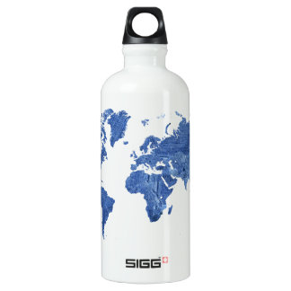 Denim World Map Water Bottle