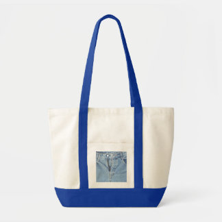 Denim zipper tote bag