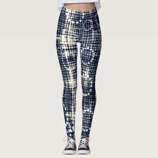 Denims circles and check pattern Leggings