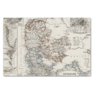 Denmark Atlas Map with 5 inset maps Tissue Paper