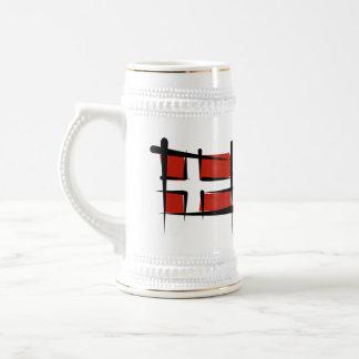 Denmark Brush Flag Beer Stein