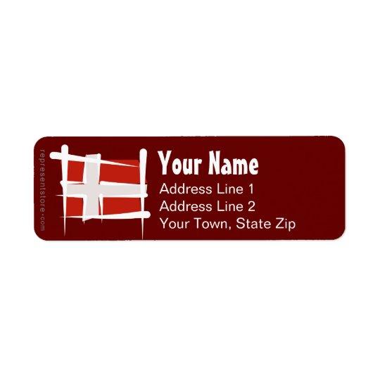 Denmark Brush Flag Return Address Label