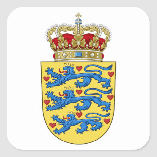 Denmark Coat of Arms Square Sticker