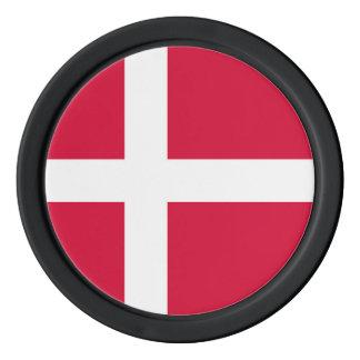 Denmark country flag symbol long poker chips