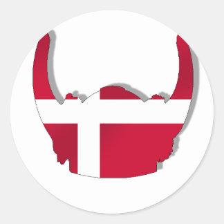 Denmark Danish Viking Dansk Helmet Classic Round Sticker