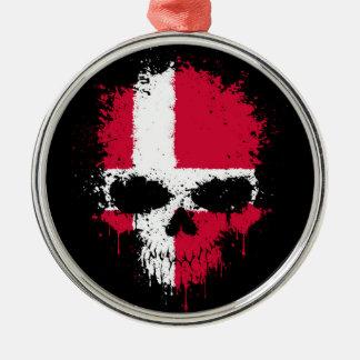 Denmark Dripping Splatter Skull Silver-Colored Round Ornament