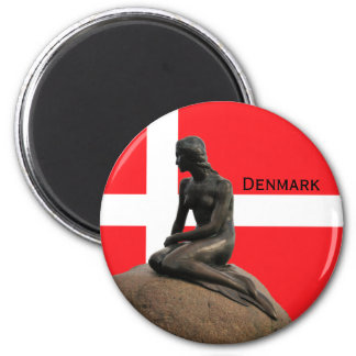 Denmark flag and Mermaid Magnet