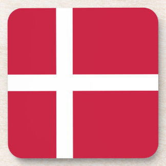 Denmark Flag Beverage Coasters