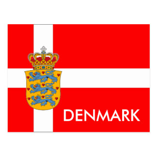 Denmark Flag & Coat of Arms Postcard! Postcard