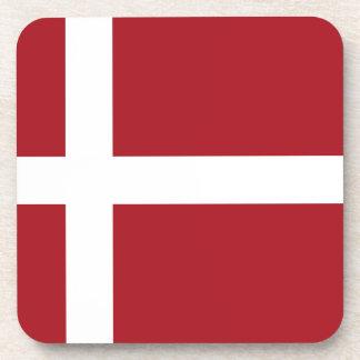 Denmark flag drink coasters