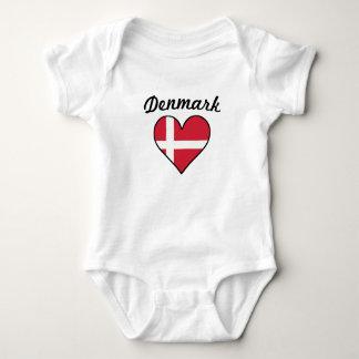 Denmark Flag Heart Baby Bodysuit