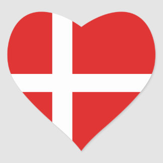 Denmark Flag Heart Sticker