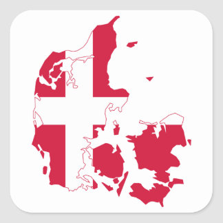 Denmark Flag Map Square Sticker