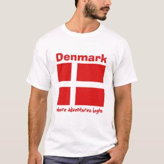 Denmark Flag + Map + Text T-Shirt